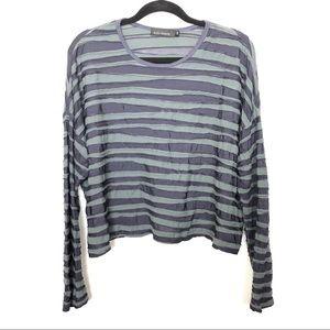 5c29b50a57 Cut Loose Mesh Stripe Texture Long Sleeve Top